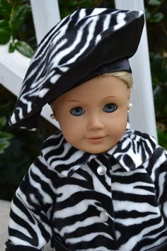 Zebra Faux Fur Coat Fits the American Girl by love2sew on Etsy, $26.00