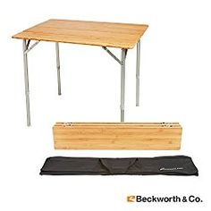 Beckworth & Co. SmartFlip Bamboo Portable Outdoor Picnic Folding Table with Adjustable Height & Carry Bag – Large
