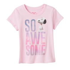 """Girls 4-6x Peanuts Snoopy """"So Awesome"""" Glitter Tee, Size: 5, Dark Pink"""
