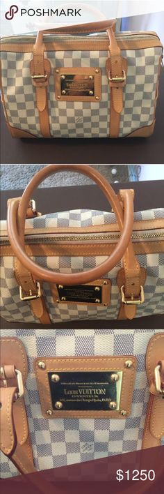 Louis Vuitton White Damier Azur Berkeley White Damier Azur Berkeley Louis Vuitton bag in very good used condition. Has normal signs of wear on the corners, look at photos closely. Leather is still light, hasn't darkened yet. Gold plated LV on front of bag. Will come with a dust bag. Box not included. No trades. Fairly priced, reasonable offers only. Louis Vuitton Bags Satchels