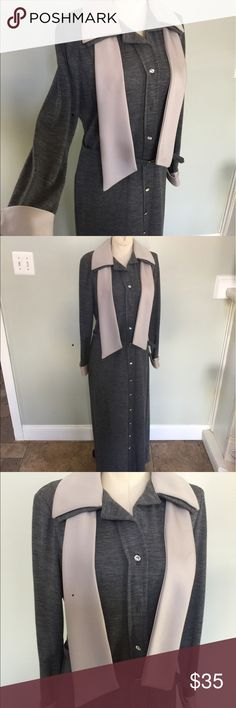 """Vintage 1960's Long Knit Dress Vintage 60' Knit.Nice vintage condition/is missing one button (second from top)but I would take one from the bottom and move it up and replace the bottom with a similar one.Please check your measurements :Bust is 39"""" & length is 56"""".The belt brings in the waist. Vintage Dresses Maxi"""