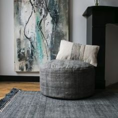 AAI made with love dark grey rug print and pouf