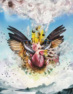 Blue Sky - Clockwork Heart by Jason Fields, via Behance Modern Surrealism, Pop Surrealism, Art Projects For Teens, Graph Design, Heart Illustration, Art Therapy Activities, Art Nouveau Design, Diy Canvas Art, Surreal Art