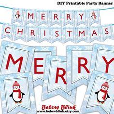 Merry Christmas Banner Printable, Diy Christmas Tags, Christmas Banners, Printable Banner, Blue Christmas, Christmas Napkins, Christmas Party Decorations, Christmas Printables, Printable Party
