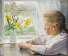Flicka à janela branca, 1907 Fanny Brate (Suécia, 1861-1940) óleo sobre tela, 46 x 55 cm