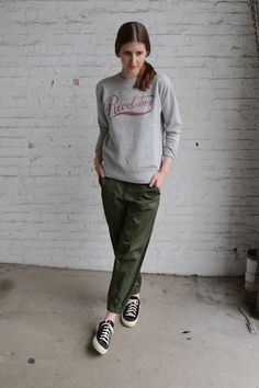 Isabel Marant Etoile Gen Sweatshirt / Band of Outsiders Stretch Sateen Sweatpant / Shoes Like Pottery Low Top Canvas Shoe