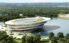 """Architecture and design firm JDS is calling its proposed Chongming Bicycle Park an """"urban oasis."""" The competition proposed park, which consists Cultural Architecture, Futuristic Architecture, Organic Architecture, Bike Experience, Architecture Magazines, Museum, Design Competitions, Modern Buildings, Architect Design"""