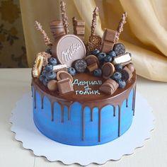 New Cake Wedding Drip Blue Ideas Chocolate Cake Designs, Chocolate Drip Cake, Bolo Drip Cake, Drip Cakes, Cake Decorating With Fondant, Cake Decorating Tips, Birthday Drip Cake, Beautiful Cake Designs, New Cake