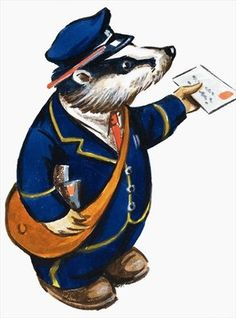Postman Badger Wall Art & Canvas Prints by English School