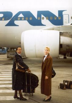 1991 Brussels, Two Pan Am Flight Attendants pose by an Airbus A310 aircraft prior to returning to New York. returning to NYC.  Beverly is the first name of the Flight Attendant on the left.