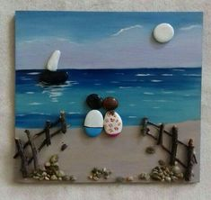 Pebble Art Wedding Gift- Unique Engagement Gift- Unique WEDDING Gift- Custom Wedding Gift- Bride and Groom Gift- Couple's Gift- Pebble Art by Medha Rode at http Beach Rock Art, Beach Rocks, Stone Crafts, Rock Crafts, Pebble Painting, Stone Painting, Pebble Art Family, Pebble Pictures, Rock Design