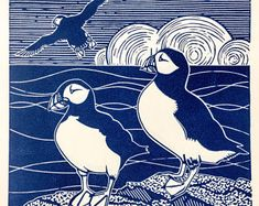 Limited edition Linocut print of three Puffins Printed on Zerkell paper in a dark blue. The print comes in a mount wrapped in a cello bag Image size x Mount size x This print is part of a limited edition of 100 Perfect decor for a seaside home or lover of Art And Illustration, Illustrations And Posters, Graphic Design Illustration, Linocut Prints, Art Prints, Block Prints, Lino Art, Linoprint, Bird Artwork