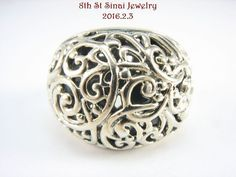 Beautiful Sterling Silver 925 Domed Scrolled Filigree Wide Band Ring Size 7 #SU #Band