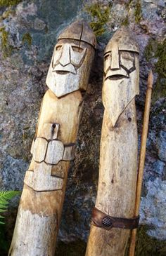 """fornsed: Thor and Odin Idols in the """"Regin-Forn Sed Skåne (=Scania,southern… Dremel Carving, Whittling Wood, Viking Culture, Old Norse, Asatru, Norse Vikings, Viking Age, Norse Mythology, Gods And Goddesses"""