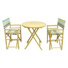Outdoor Zew Hand Crafted 3 Piece Round Folding Bamboo Patio Dining Set with Director Chairs Green Stripe - SET-11-05S