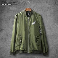 #BestPrice #Fashion Privathinker 2017 Autumn Men Embroidery Flight Army Green Bomber Jacket Men's Rib Sleeve Zipper Air Force Bomber Coats…