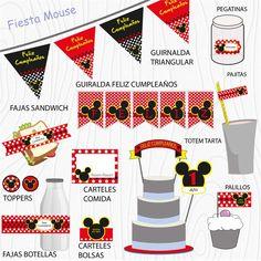 Imprimible Mouse rojo  #Fiesta #cumpleaños #printables #niños #etiquetas #plantillas #niños Mickey Mouse, 1, Chopsticks, Garlands, Happy Birthday, Stencils, Printables, Stickers, Tags