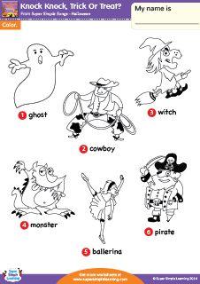 """Knock Knock, Trick Or Treat?"" Halloween Vocabulary Coloring Worksheet from Super Simple Learning. #preK #kindergarten #ESL"