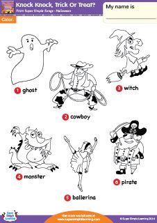 """Knock Knock, Trick Or Treat?"" Halloween Vocabulary Coloring Worksheet from Super Simple Learning. #preK #kindergarten #ESL"