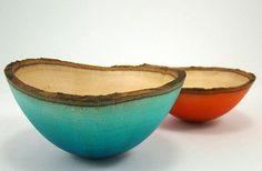 Beautiful Blue & October Orange Sycamore Bowls by Natural Selection Studio (NSS) Ceramic Tableware, Ceramic Clay, Ceramic Pottery, Wooden Bowls, Wooden Art, Natural Selection, Vases, Teller, Wood Turning