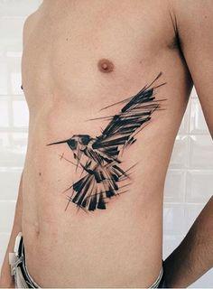 Geometric Raven Side Body Tattoo
