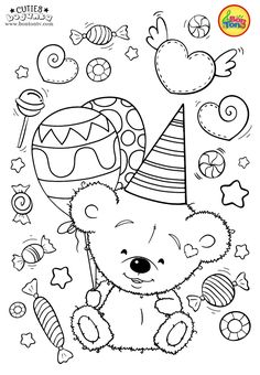 Cuties Coloring Pages for Kids - Free Preschool Printables - Slatkice Bojanke - Cute Animal Coloring Books by BonTon TV Free Kids Coloring Pages, Free Printable Coloring Sheets, Coloring Sheets For Kids, Disney Coloring Pages, Animal Coloring Pages, Coloring Book Pages, Art Drawings For Kids, Drawing For Kids, Color Me Mine