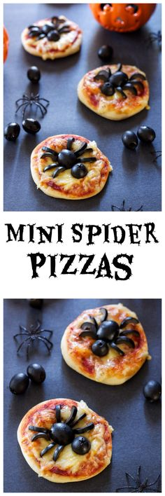 Mini Spider Pizzas Recipe Runner Spooky fun mini pizzas using delicious black olives! Halloween Pizza, Halloween Snacks, Soirée Halloween, Hallowen Food, Halloween Goodies, Halloween Dinner, Halloween Buffet, Halloween Parties, Childrens Halloween Party