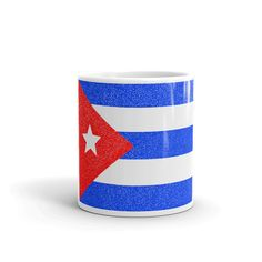 Cuban Flag Dotted Mug Cuban Flag, Dee Dee, Knit Beanie, Drink Sleeves, Coffee Mugs, Great Gifts, Etsy Shop, Ceramics, Unique