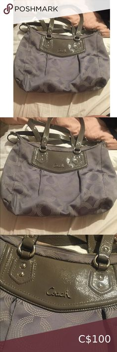 Coach Ashley Opt Silver Dotted Purse 100 % Authentic Coach Ashley in Silver Opt Dotted Purse Condition 9/10 Very nice and Good Condition Purse No Rips or Stains Coach Bags Shoulder Bags Michael Kors Designer, Michael Kors Tote, Michael Kors Black, Coach Shoulder Bag, Canvas Shoulder Bag, Shoulder Bags, Black Coach Purses, Coach Satchel, Online Thrift