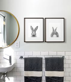 """Walls: Benjamin Moore """"Healing Aloe"""" (1/2 strength), Subway Tile: Home Depot, Bunny prints: The Crown Prints on Etsy, Turkish towels from Etsy, Mirror from Target"""