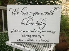 We Know You Would Be Here Today - If Heaven Wasn't So Far Away - Personalized - In Memory Of Wedding sign,