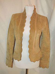 Sz 6 Boston Proper Jacket Camel Leather Eyelet Long Sleeves Open Front Scallops SOLD