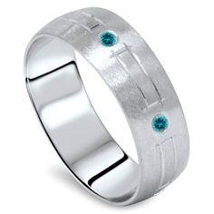 Blue Diamond Mens Wedding Ring 14K White Gold Handmade by Pompeii3, $599.99