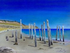 A piece of original Rusty Mutt pastel art! Port Willunga, South Australia.