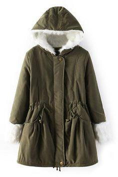 ROMWE | Drawstring Faux Fur Loose Hoodie Coat