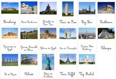 fiche sur les monuments célèbres à travers le monde (très occidental comme sélection)