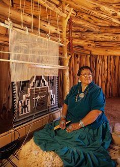 Weaving In A Hogan ... Notice How The Loom Fits With The Overhead Beams.  Navajo WeavingNavajo RugsNavajo ...