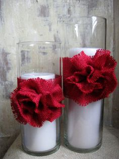 Burlap Candle Holders French Country Christmas by parismarketplace, $25.00