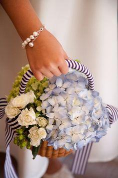 Hydrangea Flower Girl Basket