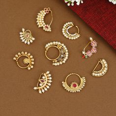 Bridal Jewelry Vintage, Gold Bridal Earrings, Gold Wedding Jewelry, Bridal Bangles, Nose Jewelry, Jewelry Design Earrings, Gold Earrings Designs, Fancy Jewellery, Gold Jewellery Design