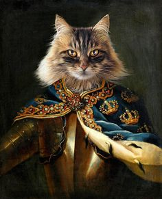 Pet Portraits for the pet dog or cat who has it all! Have your beloved pet immortalized in a Renaissance portrait! Die Renaissance, Renaissance Kunst, Renaissance Portraits, Renaissance Paintings, Fancy Cats, Cute Cats, Crazy Cat Lady, Crazy Cats, Pet Memorials