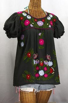 """La Mariposa Corta de Color"" Embroidered Mexican Blouse - Charcoal Grey"
