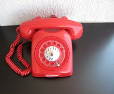 Vintage Red Rotary Phone Dial Shiny Red 70s - Red House decor- Retro European Rotary Phone- Retro decor on Etsy, $63.96 CAD