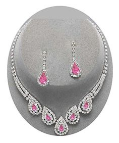 Pink Crystal Necklace Set Silver Fashion Jewelry Boxed (B... https://www.amazon.com/dp/B06VT6Y9M7/ref=cm_sw_r_pi_dp_x_DFh0ybH7HCEVA