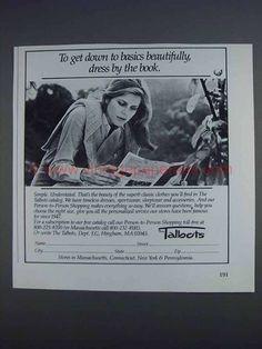 1980 Talbots Fashion Ad - Get Down to Basics