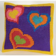 Kit cojín tapicería XXL Corazones pop C18N74K - Cañamazo con hilos - DMC $24.95 C2c Crochet, Crochet Cushions, Crochet Stitches, Crochet Patterns, Cross Stitch Art, Cross Stitch Designs, Cross Stitch Embroidery, Cross Stitch Patterns, Needlepoint Designs