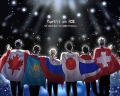 The finalists all looking amazing with their flags #yurionice #yuri