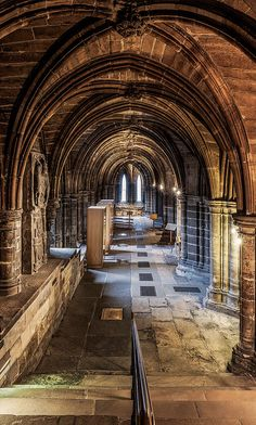 Entrance to the crypt of the Glasgow Cathedral.  Built before the Reformation from the late 12th century onwards and serving as the seat of the Bishop and later the Archbishop of Glasgow, the building is a superb example of Scottish Gothic architecture.
