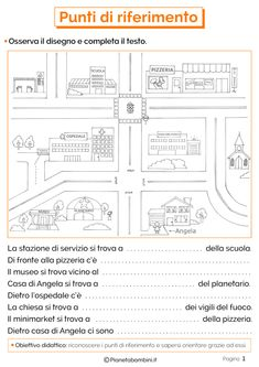Punti di Riferimento: Schede Didattiche per la Scuola Primaria | PianetaBambini.it Italian Language, New Years Eve Party, Special Needs, Kids Education, Geography, Improve Yourself, Bullet Journal, Coding, Teaching