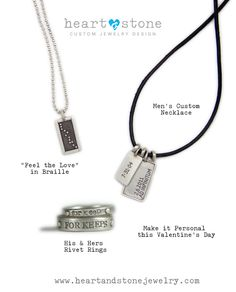 Valentines Day Gifts for Men. Handmade Personalized Mens' Necklace and Rings.